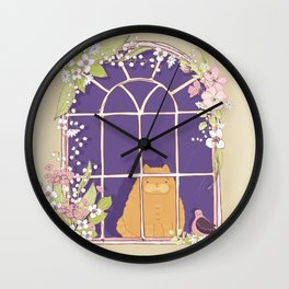 Kitty Cat In A Springtime Window With A Fancy Friend Wall Clock