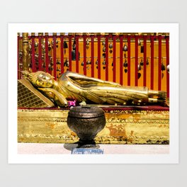 Reclining Buddha at Wat Phra That Doi Suthep Art Print
