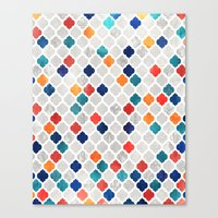 moroccan Canvas Prints featuring Sea & Spice Moroccan Pattern by micklyn