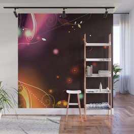 Glowing Flowers and Flourishes Wall Mural