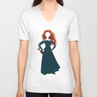 merida V-neck T-shirts featuring Merida from the Brave by Alice Wieckowska