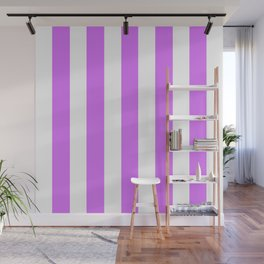 Heliotrope violet - solid color - white vertical lines pattern Wall Mural