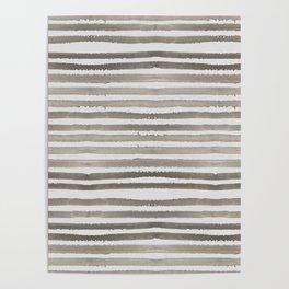 Simply Shibori Stripes Earth Brown on Lunar Gray Poster