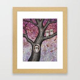 enchanted owls, moths, stars Framed Art Print