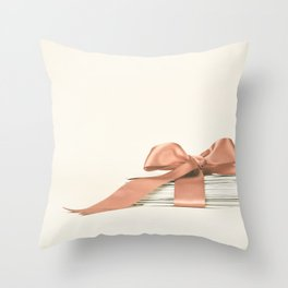 Vintage  and Romantic Letters envelop in a Pink Ribbon  Throw Pillow