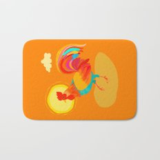 Orange Rooster Bath Mat