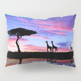 Lonely Tree And Giraffes Silhouette In African Savannah At Sunset Ultra HD Pillow Sham