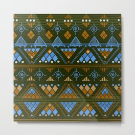 Boho Diamond Geometric Pattern Var. 2 Metal Print
