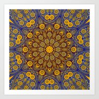 morrocan Art Prints featuring Vintage Morrocan Tile by Blooming Vine Design