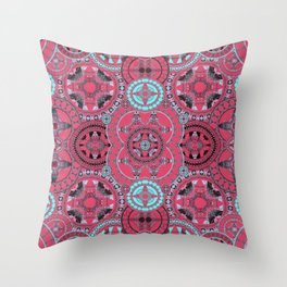 Hyperspace Mandala Coral Blue and Black Throw Pillow