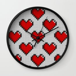 Knitted heart pattern - white Wall Clock