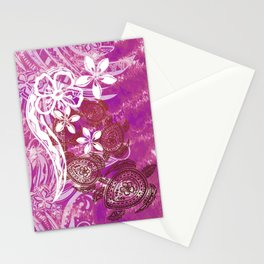 Hawaiian - Samoan - Polynesian Lava Ocean Honu Tribal Stationery Cards