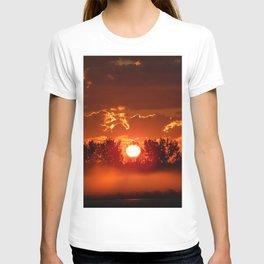 Flaming Horses over the Foggy Sunrise T-shirt
