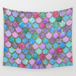 Colorful Gold Mermaid Scales Wall Tapestry