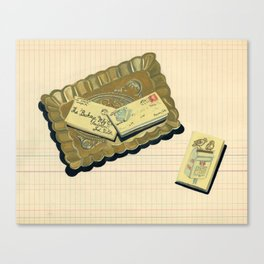 Brass Tray with Vintage Postage Holders in Gouache Canvas Print