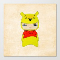 pooh Canvas Prints featuring A Boy - Winnie-the-Pooh by Christophe Chiozzi