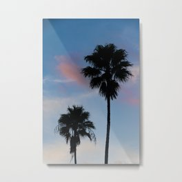 Palm Tree Silhouettes Blue Sky Nature / Botanical #tropical #decor #art #society6 Metal Print