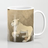 lions Mugs featuring Running lions by Drawing For Hope