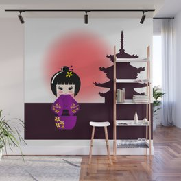Japanese kokeshi doll at temple during sunset Wall Mural