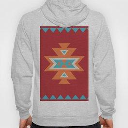 Navajo Aztec Pattern Orange Turquoise on Red Hoody