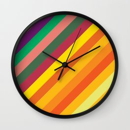 Retro Rainbow Lines Wall Clock