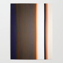 Brown White Dark Blue Ombre Stripes Poster