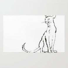 Skinny cat illustration Rug