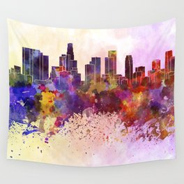Los Angeles skyline in watercolor background Wall Tapestry