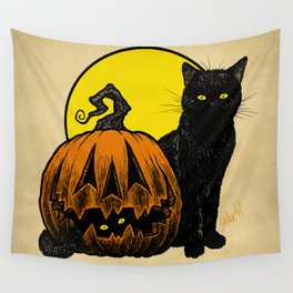 Still Life with Feline and Gourd Wall Tapestry