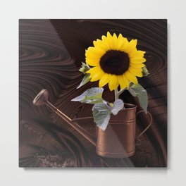 Sunflower in a Copper Watering Can Metal Print