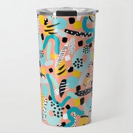 CIRCLES IN MOTION - peach/ yellow/ mint Travel Mug