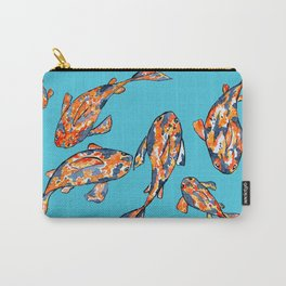 Koi Fish Pond light blue Carry-All Pouch