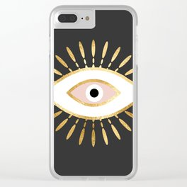 gold foil evil eye in blush Clear iPhone Case
