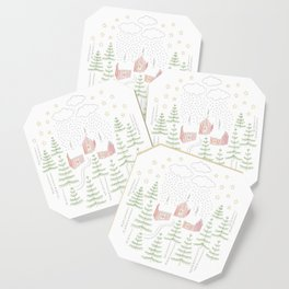 Snowy Winter Forest Village Drawing Coaster