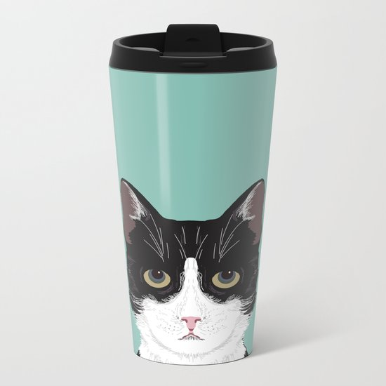 Quinn - Cute black and white cat tuxedo cat gifts for cat lady gift ideas cell phone case with cat Metal Travel Mug