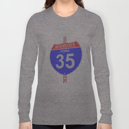 Interstate highway 35 road sign in Iowa Long Sleeve T-shirt