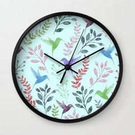 Watercolor Floral & Birds III Wall Clock