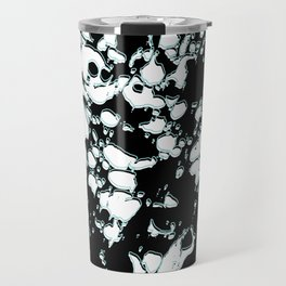 Black and White ink paint spill graphic mint green lines Travel Mug