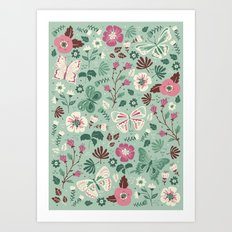 Garden Butterflies  Art Print