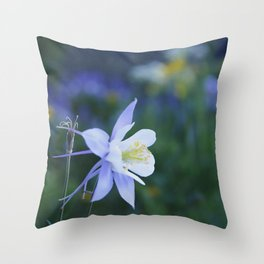 Columbine wildflower in Colorado mountains Throw Pillow