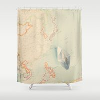 map Shower Curtains featuring map by Ingrid Beddoes