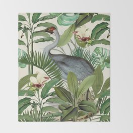 Tropical Heron Bird Rainforest Illustration Throw Blanket