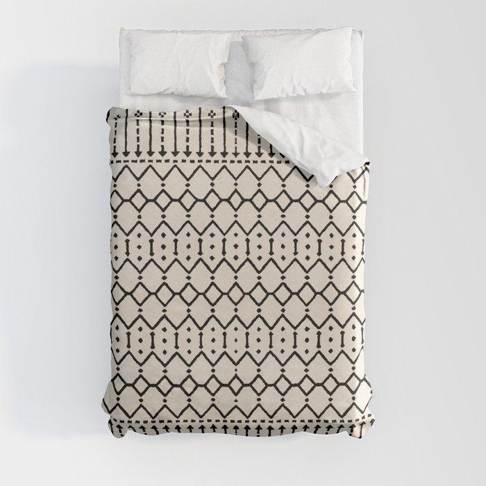 N79 - Farmhouse B&W Traditional Boho Moroccan Style Design. Duvet Cover