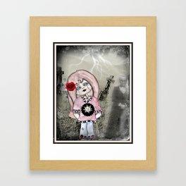 Zombie Girl in Graveyard Framed Art Print