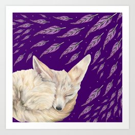 Fennec Fox Feather Dreams in Purple Grape Art Print