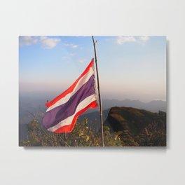 Thai flag on Mountain Metal Print