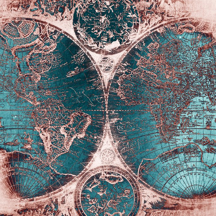 Antique World Map Pink Quartz Teal Blue by Nature Magick Comforters