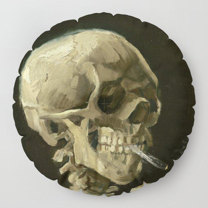 Vincent van Gogh - Skull of a Skeleton with Burning Cigarette Floor Pillow