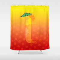 tequila Shower Curtains featuring T for Tequila Sunrise by CHOCOLORS