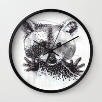racoon Wall Clocks featuring Racoon by Faustine BLESSON
